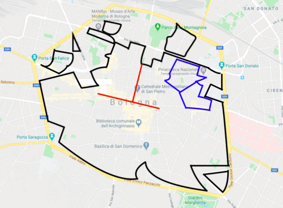 Map Bologna's ZTL