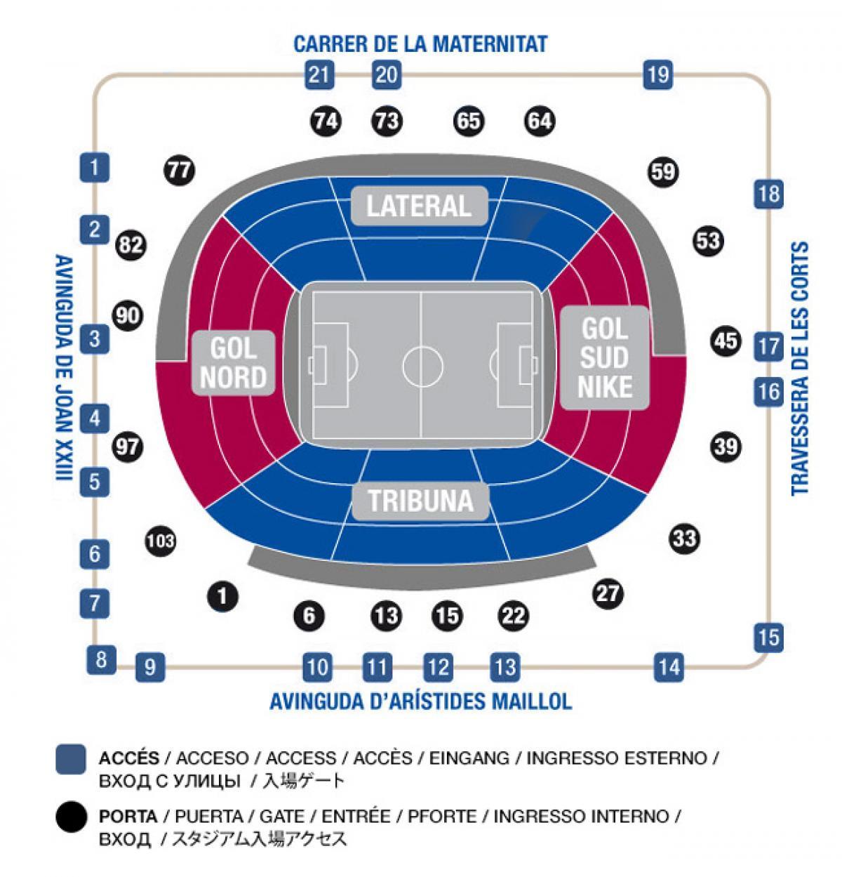 Accès du Camp Nou : Attention : l'orientation n'est pas la même que sur la carte.