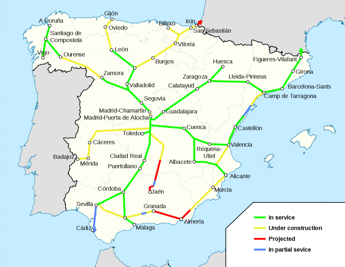 Mapa de la Alta Velocidad Española. Fuente: HrAd para Wikipedia