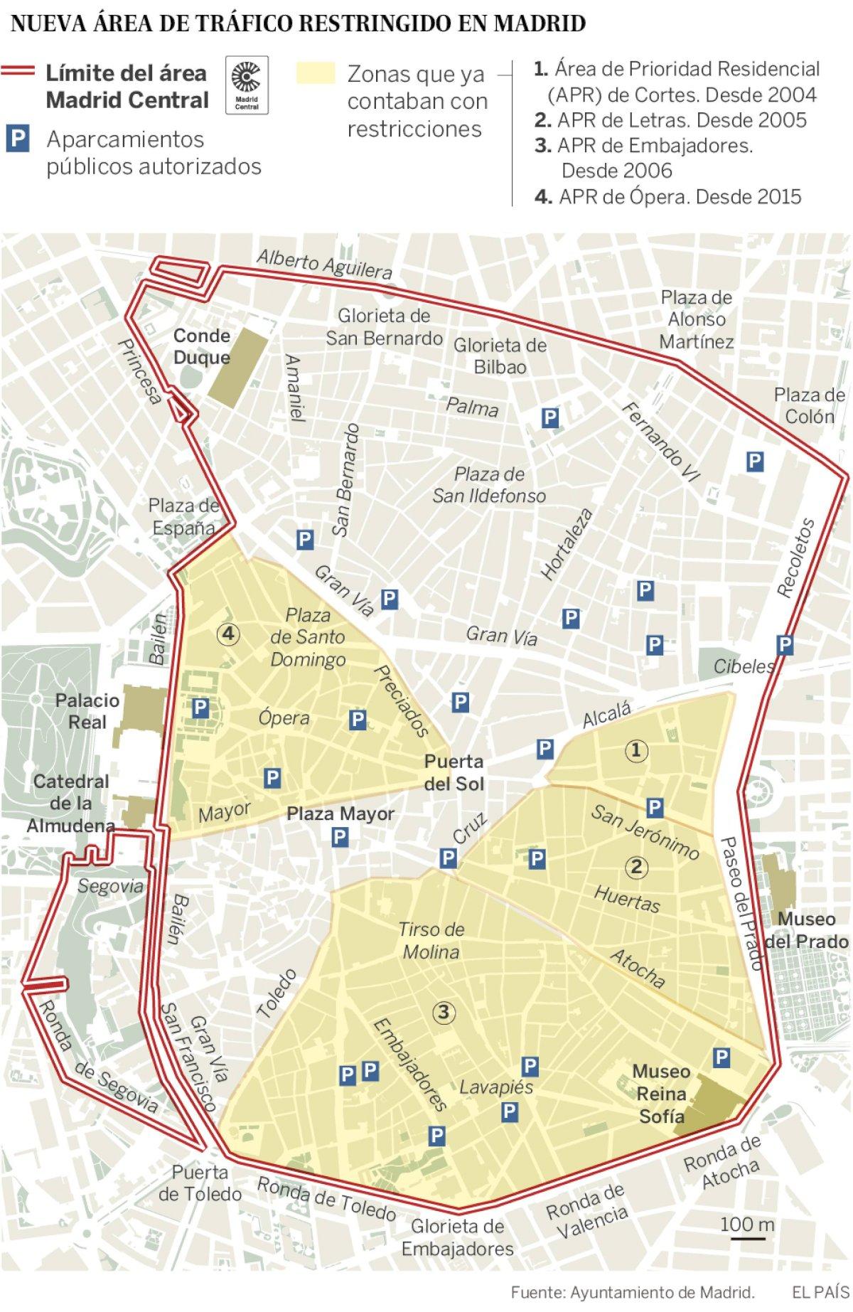 Mappa di Madrid centrale e relativi parcheggi