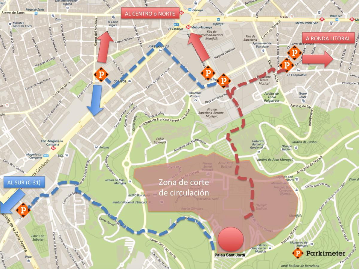 Mapa Aparcar Palau Sant Jordi
