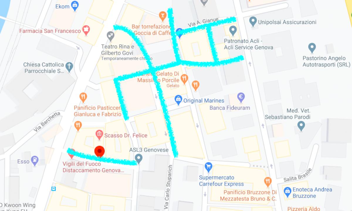 Map ZTL Bolzaneto of Genova