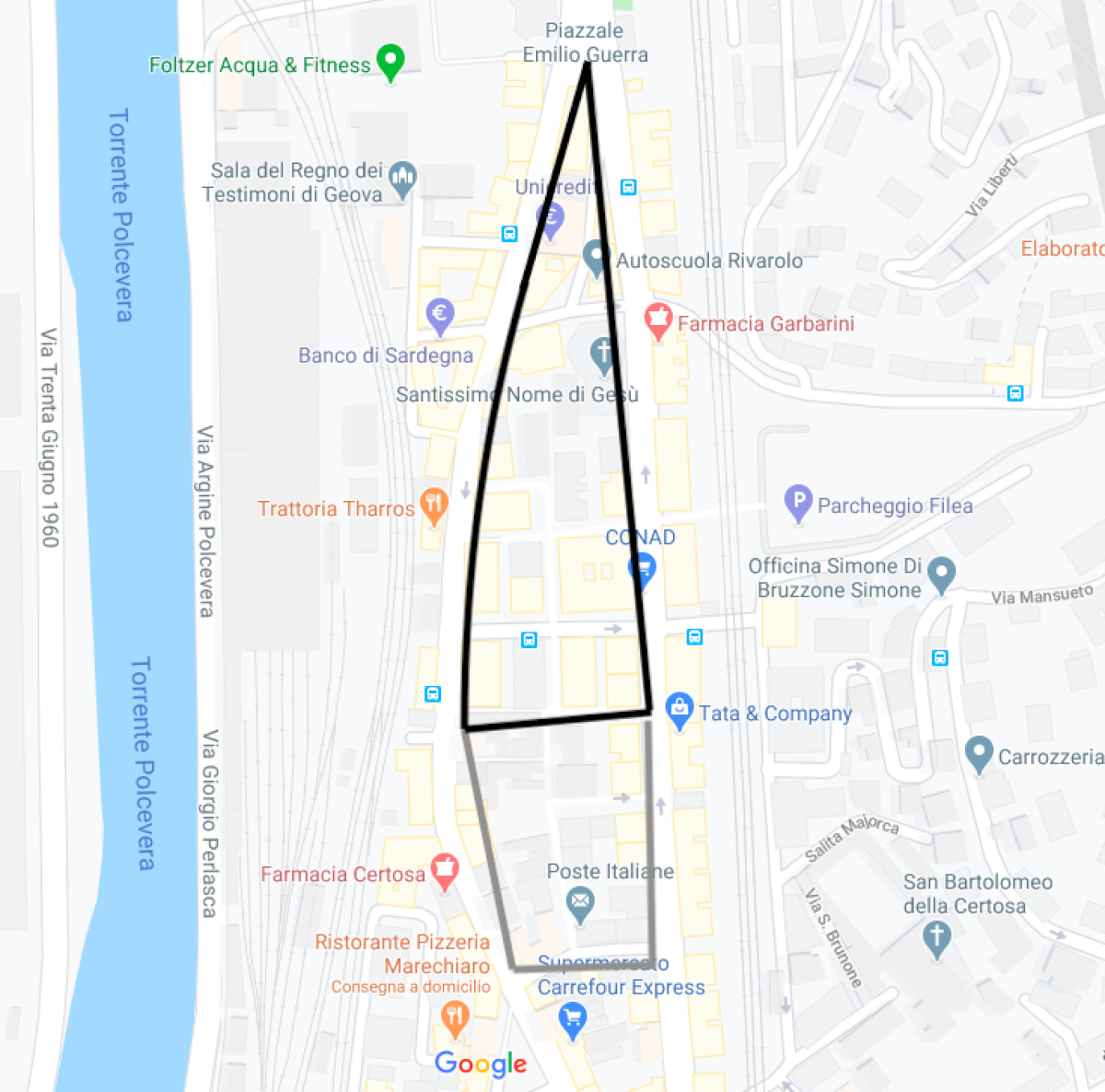 Map ZTL Rivarolo Genova